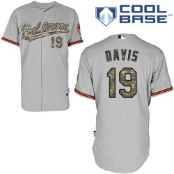 Men's Majestic Baltimore Orioles 19 Chris Davis Replica Grey USMC Cool Base MLB Jersey