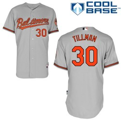 Men's Majestic Baltimore Orioles 30 Chris Tillman Authentic Grey Road Cool Base MLB Jersey