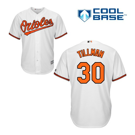 Men's Majestic Baltimore Orioles 30 Chris Tillman Authentic White Home Cool Base MLB Jersey