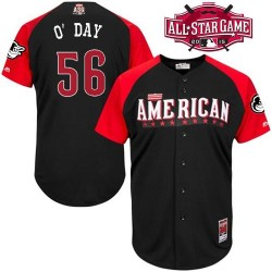 Men's Majestic Baltimore Orioles 56 Darren O'Day Authentic Black American League 2015 All-Star BP Cool Base MLB Jersey
