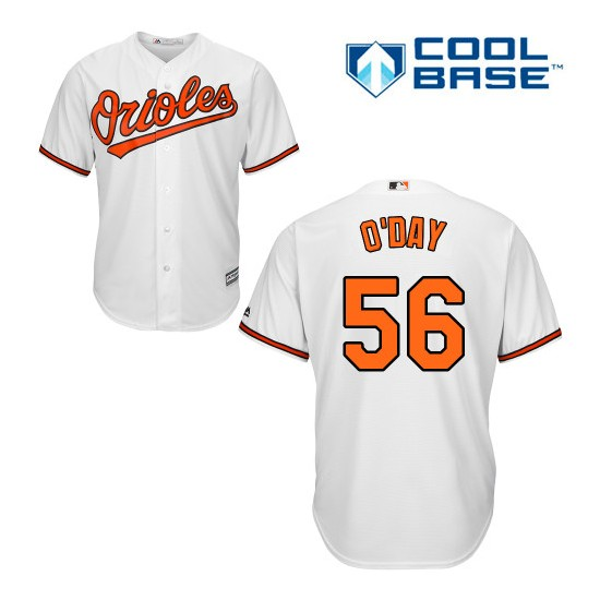 Men's Majestic Baltimore Orioles 56 Darren O'Day Authentic White Home Cool Base MLB Jersey
