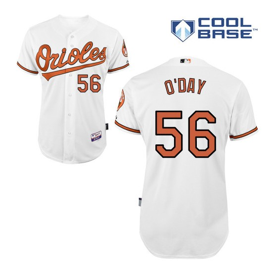 Men's Majestic Baltimore Orioles 56 Darren O'Day Replica White Home Cool Base MLB Jersey