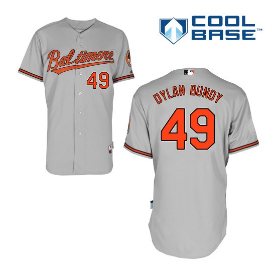 Men's Majestic Baltimore Orioles 49 Dylan Bundy Authentic Grey Road Cool Base MLB Jersey