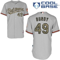 Men's Majestic Baltimore Orioles 49 Dylan Bundy Authentic Grey USMC Cool Base MLB Jersey