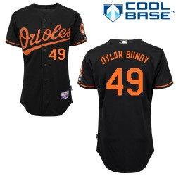 Men's Majestic Baltimore Orioles 49 Dylan Bundy Replica Black Alternate Cool Base MLB Jersey