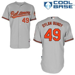 Men's Majestic Baltimore Orioles 49 Dylan Bundy Replica Grey Road Cool Base MLB Jersey