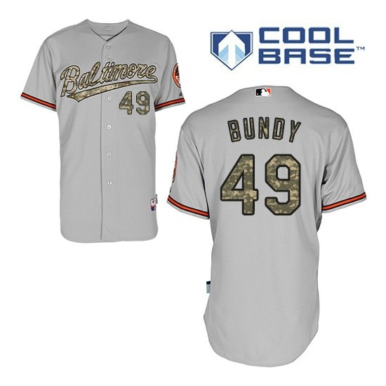 Men's Majestic Baltimore Orioles 49 Dylan Bundy Replica Grey USMC Cool Base MLB Jersey