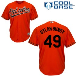 Men's Majestic Baltimore Orioles 49 Dylan Bundy Replica Orange Alternate Cool Base MLB Jersey