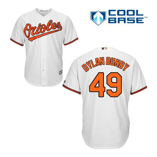 Men's Majestic Baltimore Orioles 49 Dylan Bundy Replica White Home Cool Base MLB Jersey