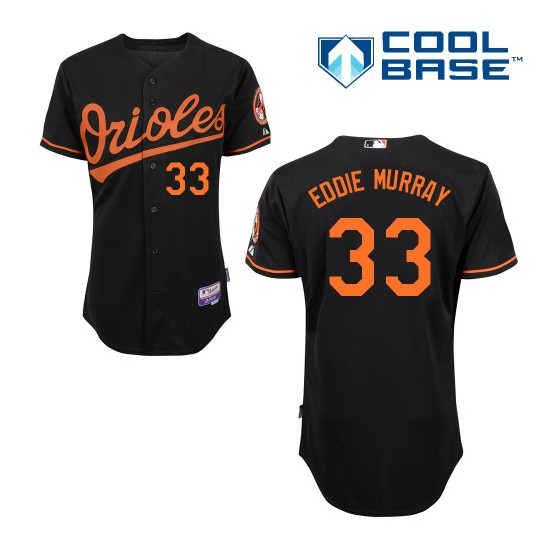 Men's Majestic Baltimore Orioles 33 Eddie Murray Replica Black Alternate Cool Base MLB Jersey