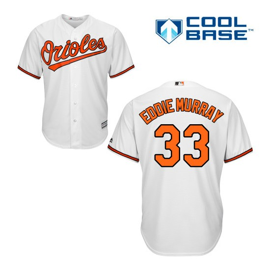 Men's Majestic Baltimore Orioles 33 Eddie Murray Replica White Home Cool Base MLB Jersey