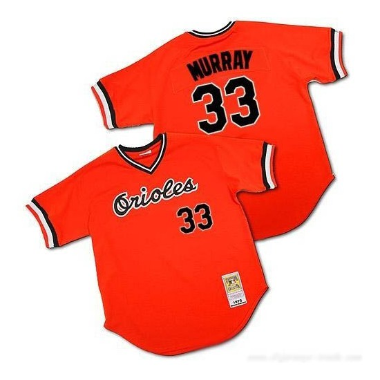 Men's Mitchell and Ness Baltimore Orioles 33 Eddie Murray Authentic Orange Throwback MLB Jersey