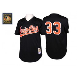 Men's Mitchell and Ness Baltimore Orioles 33 Eddie Murray Replica Black Throwback MLB Jersey