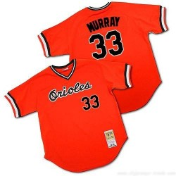 Men's Mitchell and Ness Baltimore Orioles 33 Eddie Murray Replica Orange Throwback MLB Jersey