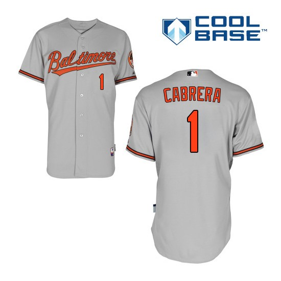 Men's Majestic Baltimore Orioles 1 Everth Cabrera Authentic Grey Road Cool Base MLB Jersey
