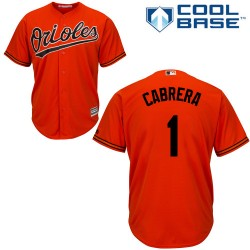 Men's Majestic Baltimore Orioles 1 Everth Cabrera Authentic Orange Alternate Cool Base MLB Jersey