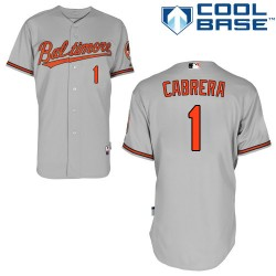 Men's Majestic Baltimore Orioles 1 Everth Cabrera Replica Grey Road Cool Base MLB Jersey