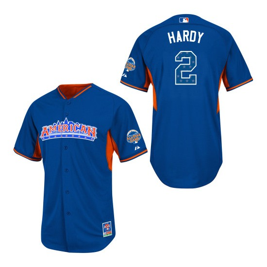 Men's Majestic Baltimore Orioles 2 J.J. Hardy Authentic Blue American League 2013 All-Star BP MLB Jersey