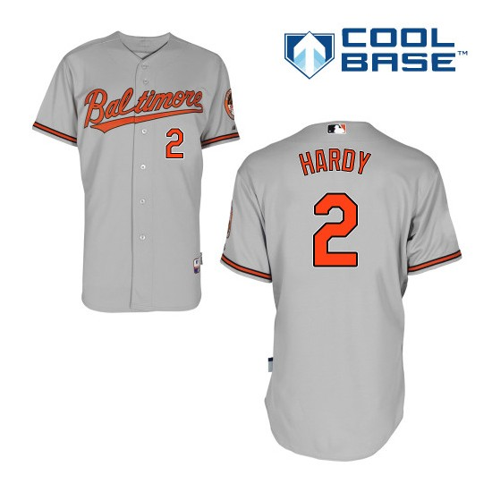 Men's Majestic Baltimore Orioles 2 J.J. Hardy Authentic Grey Road Cool Base MLB Jersey