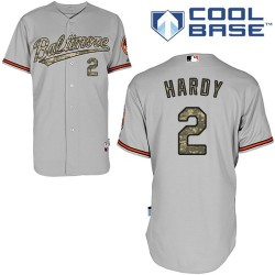 Men's Majestic Baltimore Orioles 2 J.J. Hardy Authentic Grey USMC Cool Base MLB Jersey