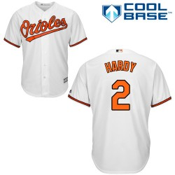 Men's Majestic Baltimore Orioles 2 J.J. Hardy Authentic White Home Cool Base MLB Jersey