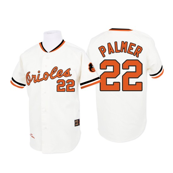 Men's Mitchell and Ness 1970 Baltimore Orioles 22 Jim Palmer Authentic White Throwback MLB Jersey