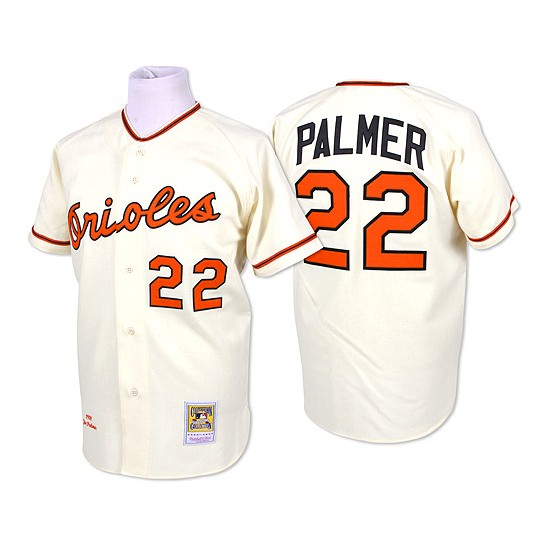 Men's Mitchell and Ness Baltimore Orioles 22 Jim Palmer Authentic Cream Throwback MLB Jersey