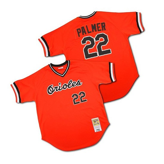 Men's Mitchell and Ness Baltimore Orioles 22 Jim Palmer Authentic Orange 1982 Throwback MLB Jersey