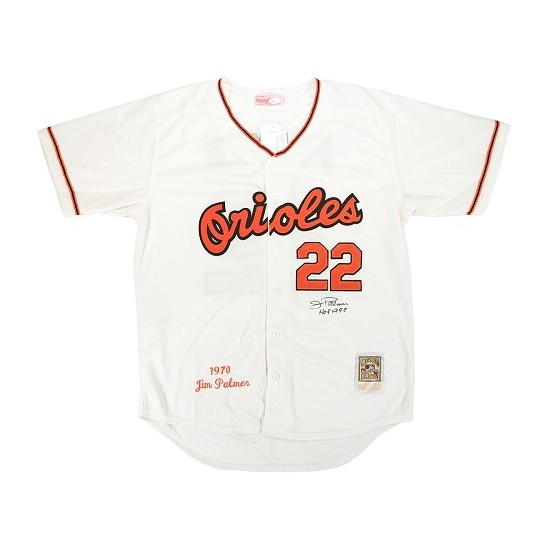 Men's Mitchell and Ness Baltimore Orioles 22 Jim Palmer Replica Cream 1970 Throwback MLB Jersey