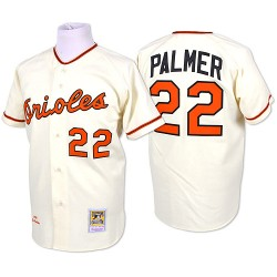 Men's Mitchell and Ness Baltimore Orioles 22 Jim Palmer Replica Cream Throwback MLB Jersey