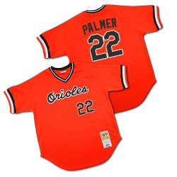 Men's Mitchell and Ness Baltimore Orioles 22 Jim Palmer Replica Orange 1982 Throwback MLB Jersey