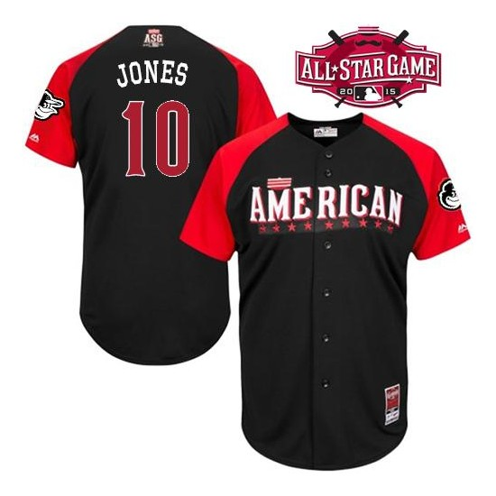 Men's Majestic Baltimore Orioles 10 Adam Jones Authentic Black American League 2015 All-Star BP MLB Jersey