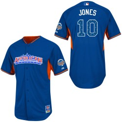 Men's Majestic Baltimore Orioles 10 Adam Jones Authentic Blue American League 2013 All-Star BP MLB Jersey