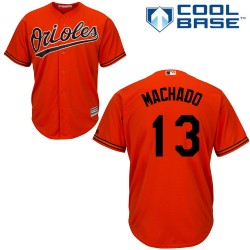Men's Majestic Baltimore Orioles 13 Manny Machado Authentic Orange Alternate Cool Base MLB Jersey