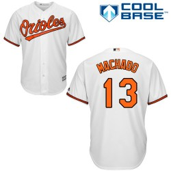 Men's Majestic Baltimore Orioles 13 Manny Machado Authentic White Home Cool Base MLB Jersey