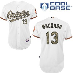 Men's Majestic Baltimore Orioles 13 Manny Machado Authentic White USMC Cool Base MLB Jersey