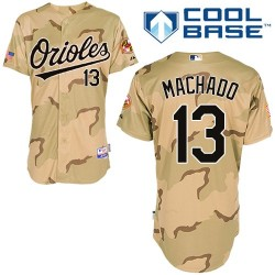 Men's Majestic Baltimore Orioles 13 Manny Machado Replica Camo Commemorative Military Day Cool Base MLB Jersey