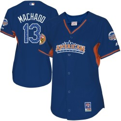 Women's Majestic Baltimore Orioles 13 Manny Machado Replica Blue American League 2013 All-Star BP MLB Jersey