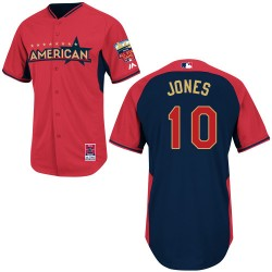 Men's Majestic Baltimore Orioles 10 Adam Jones Authentic Red/Navy American League 2014 All-Star BP MLB Jersey