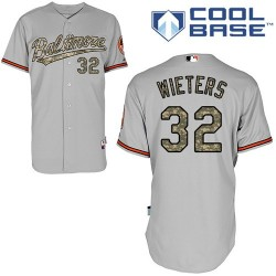 Men's Majestic Baltimore Orioles 32 Matt Wieters Authentic Grey USMC Cool Base MLB Jersey