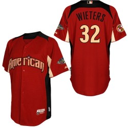 Men's Majestic Baltimore Orioles 32 Matt Wieters Authentic Red American League 2011 All-Star BP MLB Jersey