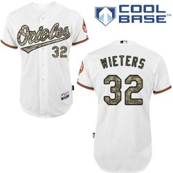 Men's Majestic Baltimore Orioles 32 Matt Wieters Authentic White USMC Cool Base MLB Jersey