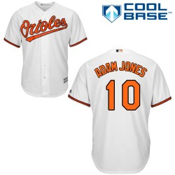 Men's Majestic Baltimore Orioles 10 Adam Jones Authentic White Home Cool Base MLB Jersey