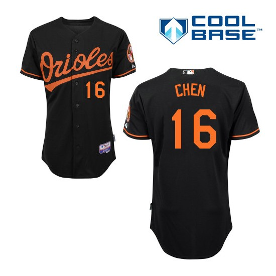 Men's Majestic Baltimore Orioles 16 Wei-Yin Chen Authentic Black Alternate Cool Base MLB Jersey