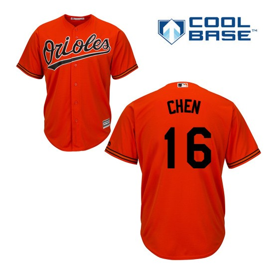 Men's Majestic Baltimore Orioles 16 Wei-Yin Chen Authentic Orange Alternate Cool Base MLB Jersey