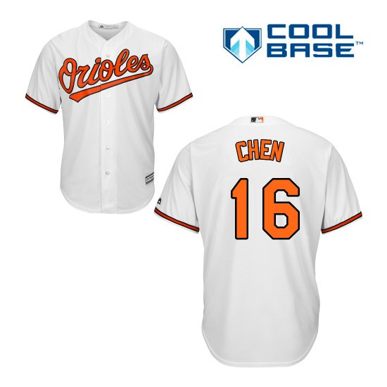 Men's Majestic Baltimore Orioles 16 Wei-Yin Chen Authentic White Home Cool Base MLB Jersey