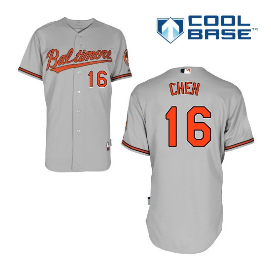 Men's Majestic Baltimore Orioles 16 Wei-Yin Chen Replica Grey Road Cool Base MLB Jersey