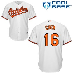 Men's Majestic Baltimore Orioles 16 Wei-Yin Chen Replica White Home Cool Base MLB Jersey