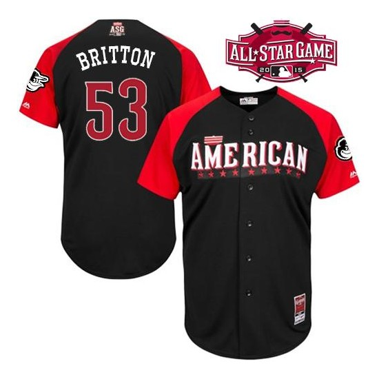 Men's Majestic Baltimore Orioles 53 Zach Britton Replica Black American League 2015 All-Star BP Cool Base MLB Jersey