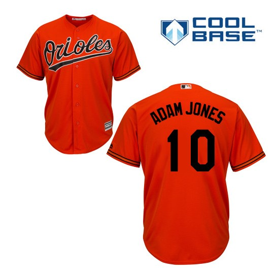 Men's Majestic Baltimore Orioles 10 Adam Jones Replica Orange Alternate Cool Base MLB Jersey